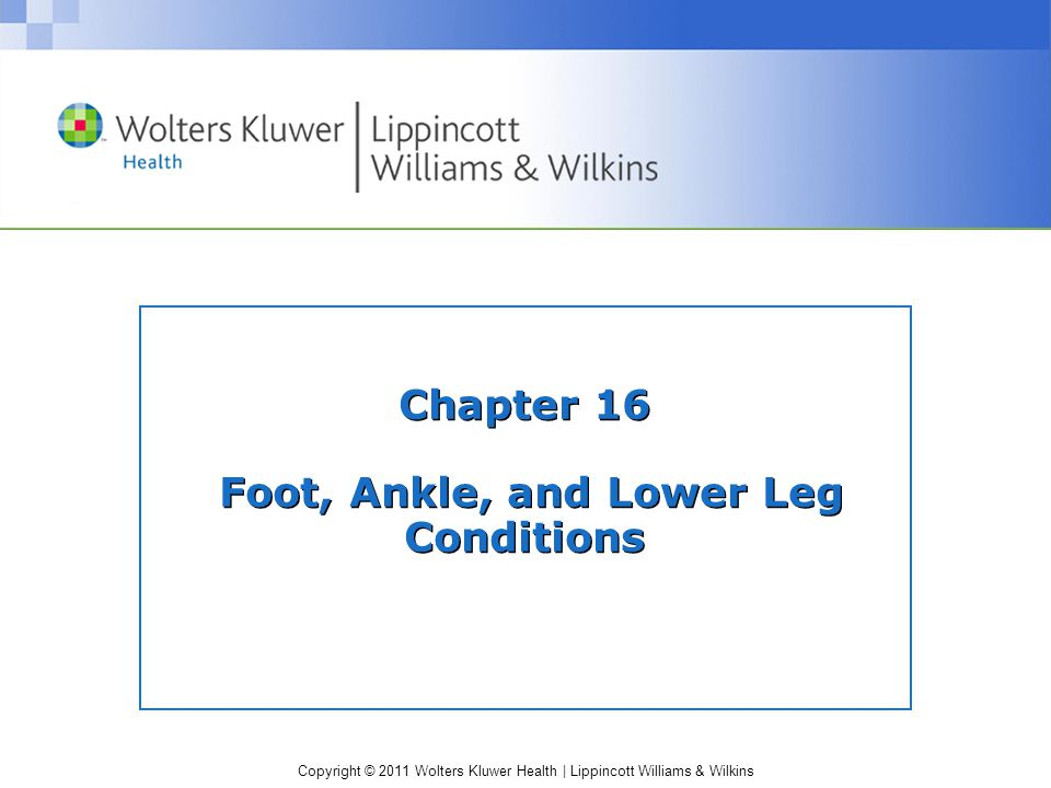 Copyright © 2011 Wolters Kluwer Health   Lippincott Williams & Wilkins Chapter 16 Foot, Ankle, and Lower Leg Conditions