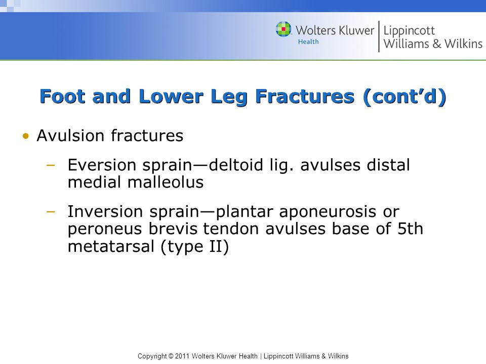 Copyright © 2011 Wolters Kluwer Health   Lippincott Williams & Wilkins Foot and Lower Leg Fractures (cont'd) Avulsion fractures –Eversion sprain—deltoid lig.