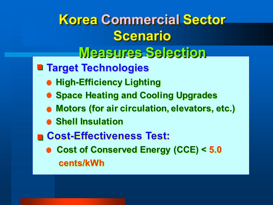 Korea Commercial Sector Scenario Measures Selection High-Efficiency Lighting Space Heating and Cooling Upgrades Motors (for air circulation, elevators