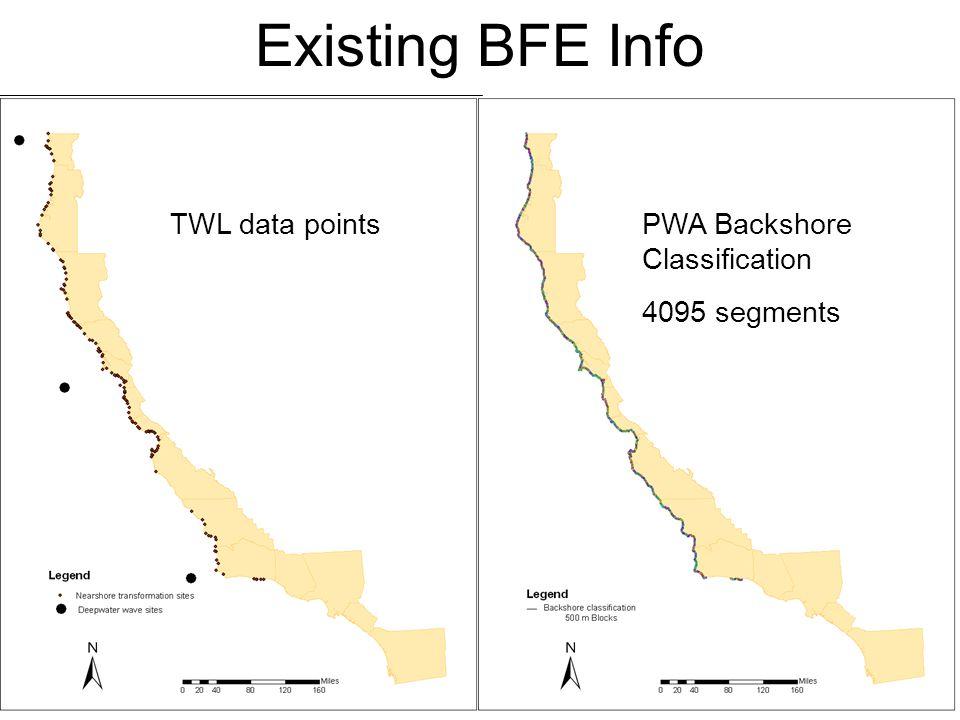 CA Coastal Counties Existing BFE Info FIS and Ott studies DFIRMs TWL data pointsPWA_BFE Estimates PWA Backshore Classification 4095 segments