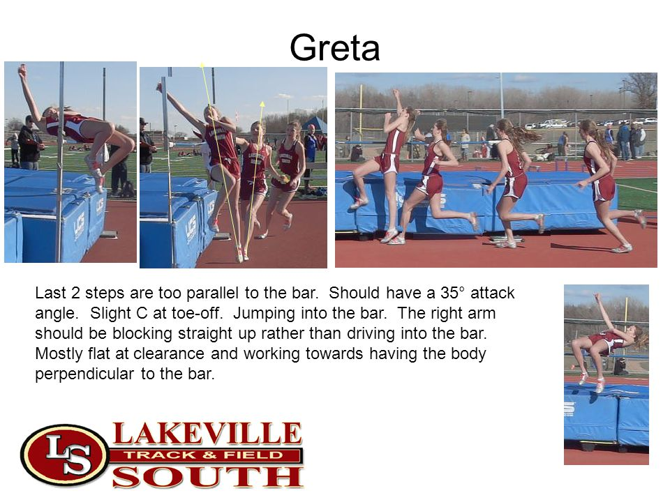 Greta Last 2 steps are too parallel to the bar. Should have a 35° attack angle. Slight C at toe-off. Jumping into the bar. The right arm should be blo