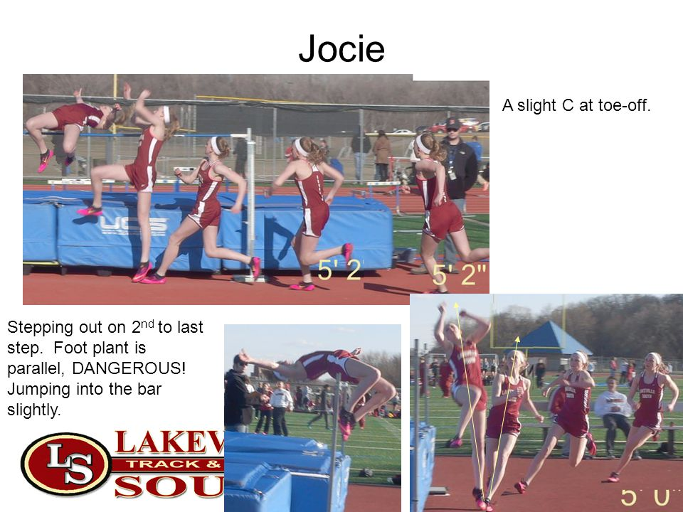 Jocie Stepping out on 2 nd to last step. Foot plant is parallel, DANGEROUS! Jumping into the bar slightly. A slight C at toe-off.