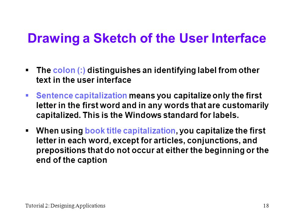 Tutorial 2: Designing Applications18 Drawing a Sketch of the User Interface  The colon (:) distinguishes an identifying label from other text in the user interface  Sentence capitalization means you capitalize only the first letter in the first word and in any words that are customarily capitalized.