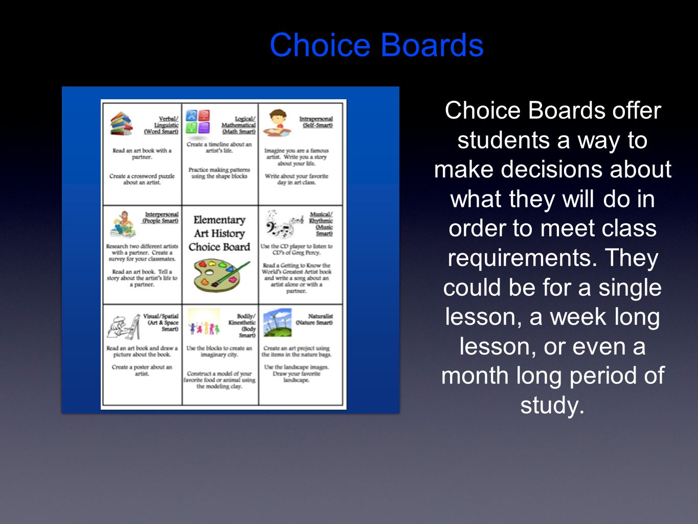 Choice Boards offer students a way to make decisions about what they will do in order to meet class requirements.
