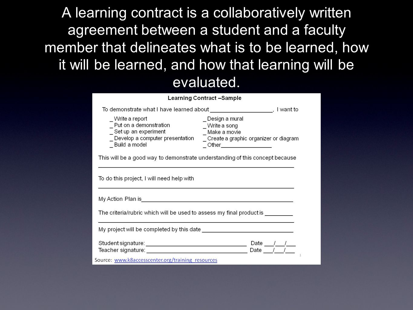 A learning contract is a collaboratively written agreement between a student and a faculty member that delineates what is to be learned, how it will be learned, and how that learning will be evaluated.