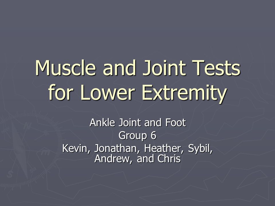 Muscle and Joint Tests for Lower Extremity Ankle Joint and Foot Group 6 Kevin, Jonathan, Heather, Sybil, Andrew, and Chris