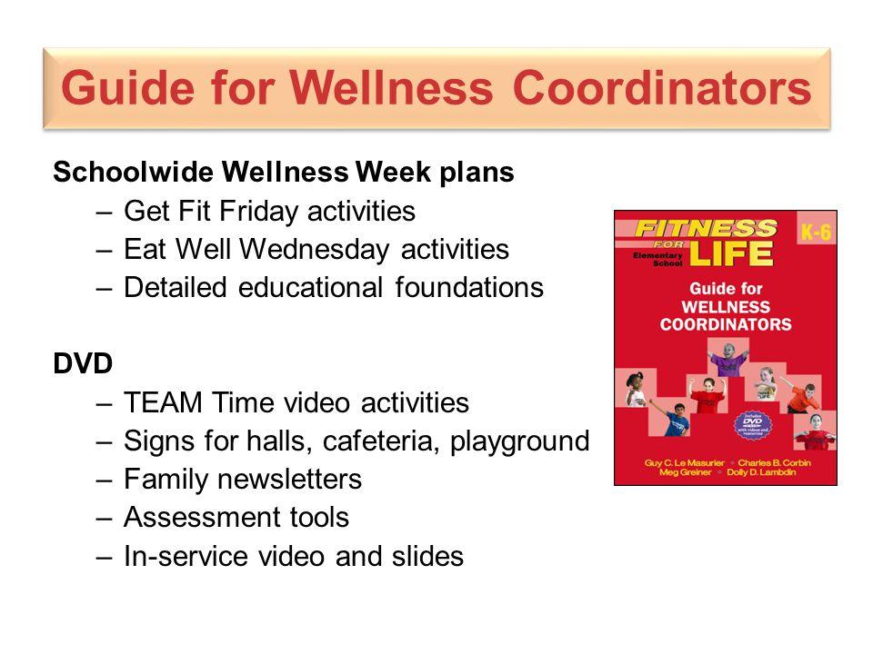 Guide for Wellness Coordinators Schoolwide Wellness Week plans –Get Fit Friday activities –Eat Well Wednesday activities –Detailed educational foundat