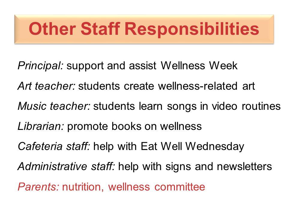 Other Staff Responsibilities Principal: support and assist Wellness Week Art teacher: students create wellness-related art Music teacher: students lea