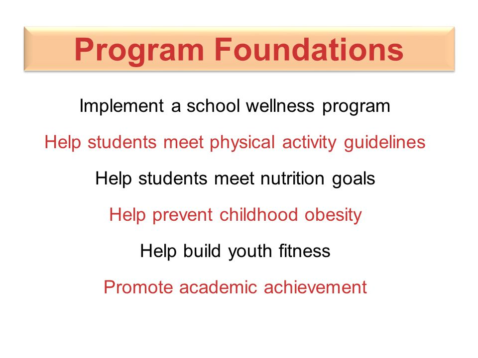 Program Foundations Implement a school wellness program Help students meet physical activity guidelines Help students meet nutrition goals Help preven
