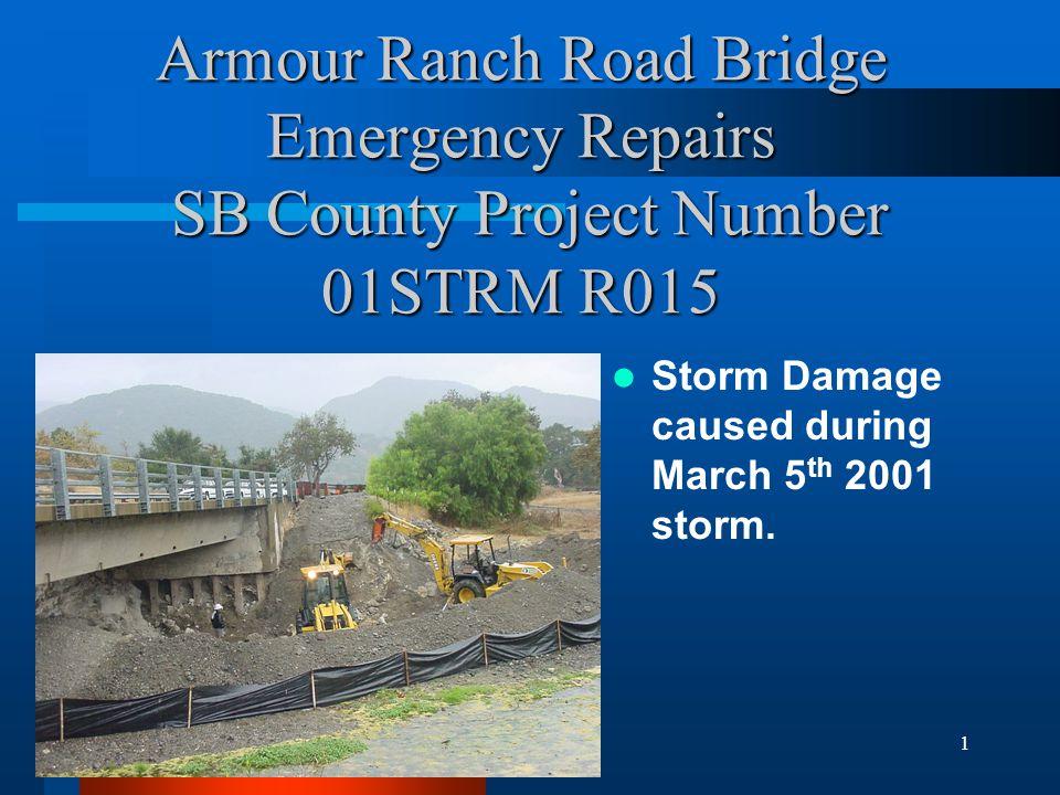 2 Damage Description Scour hole discovered behind grouted rip rap bridge abutment protection.