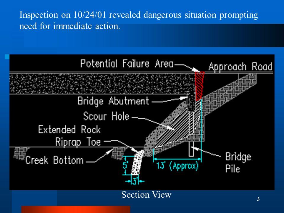 4 Construction Began 10/29/2001 Breakup existing Rock Riprap over scour hole.