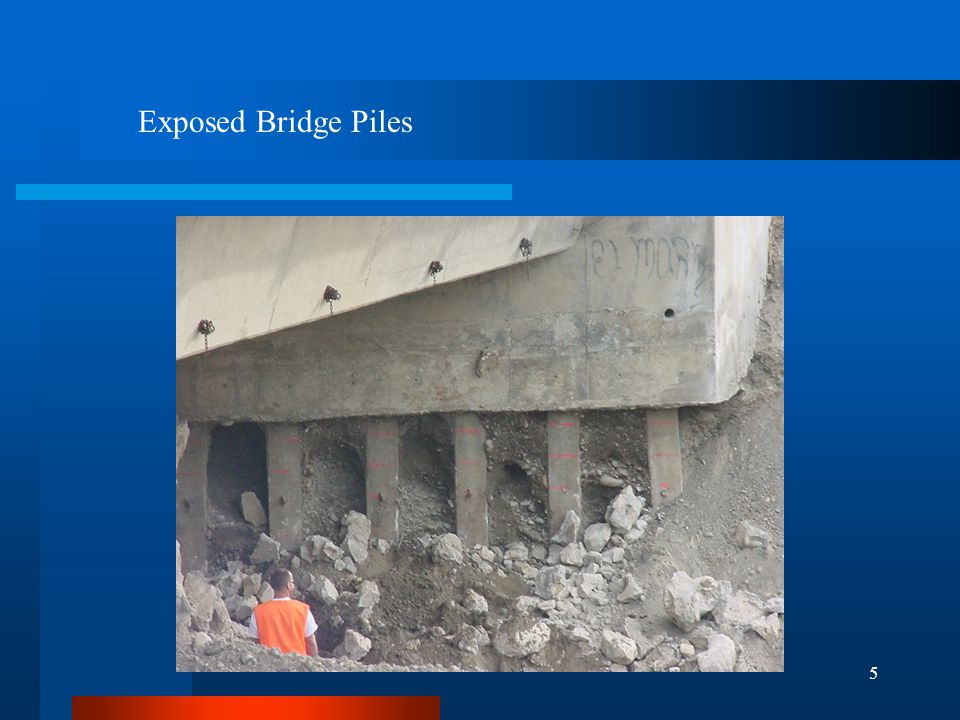 6 REPAIRS Remove undermined Rock riprap Grout behind bridge piles Fill void with rock and concrete