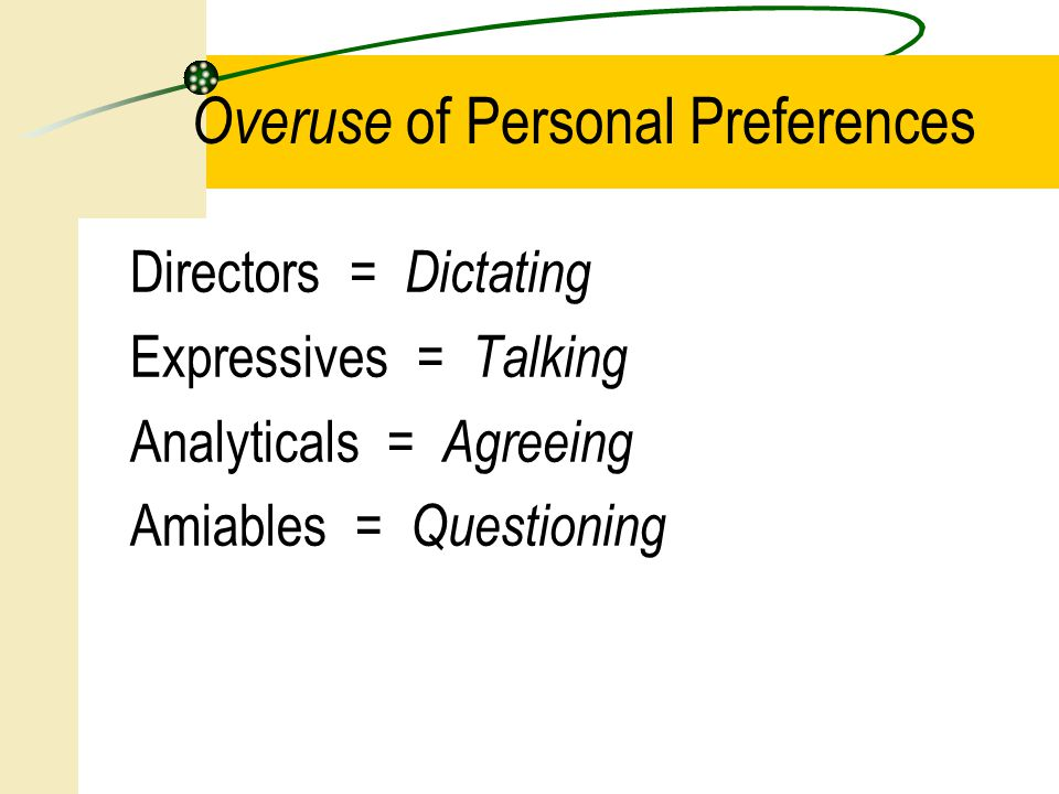 Directors = Dictating Expressives = Talking Analyticals = Agreeing Amiables = Questioning Overuse of Personal Preferences