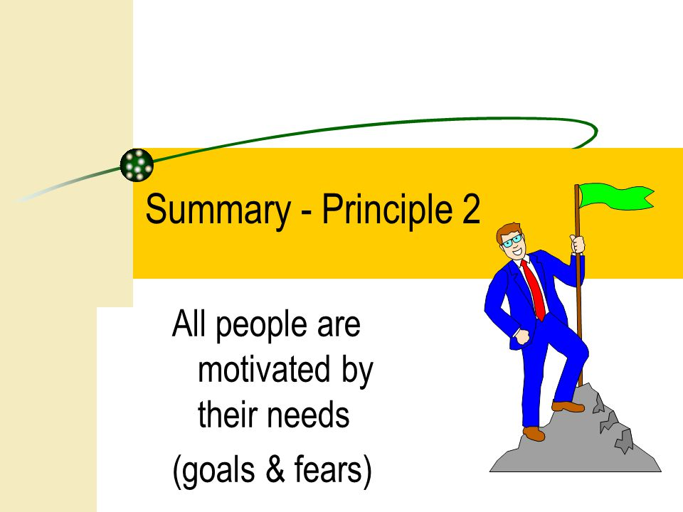 Summary - Principle 2 All people are motivated by their needs (goals & fears)