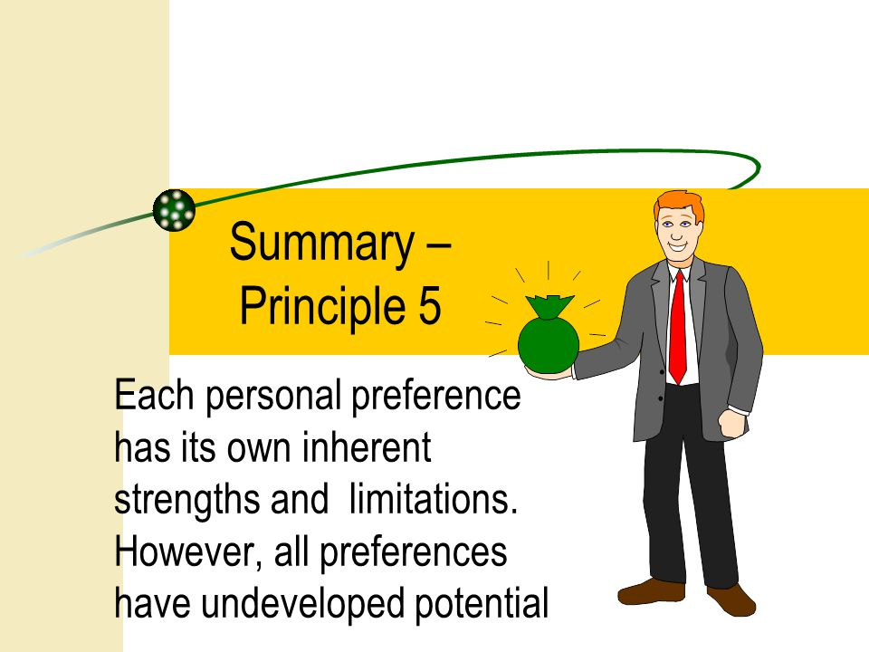 Summary – Principle 5 Each personal preference has its own inherent strengths and limitations.