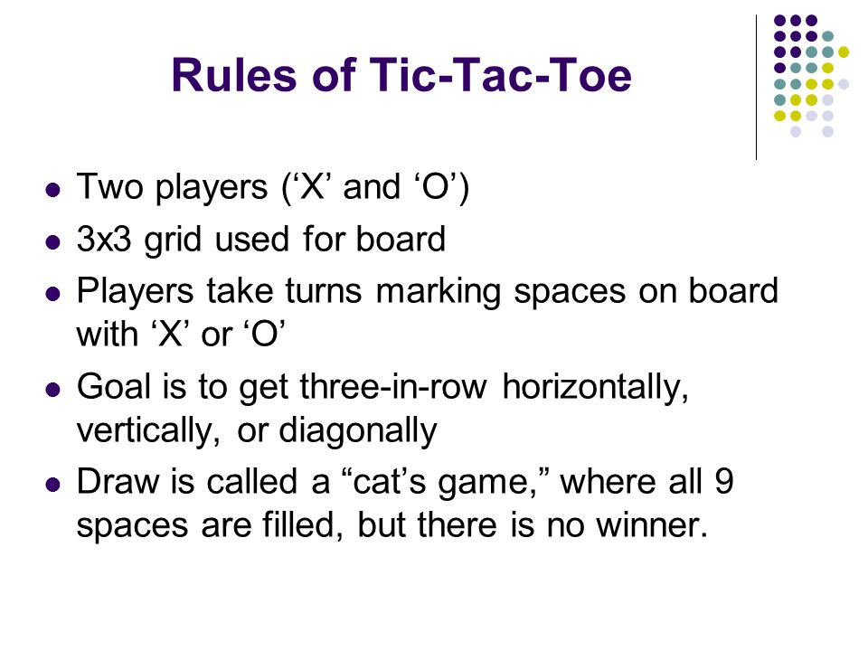 Examples of Tic-Tac-Toe Outcomes Player 'X' Wins Cat's Game
