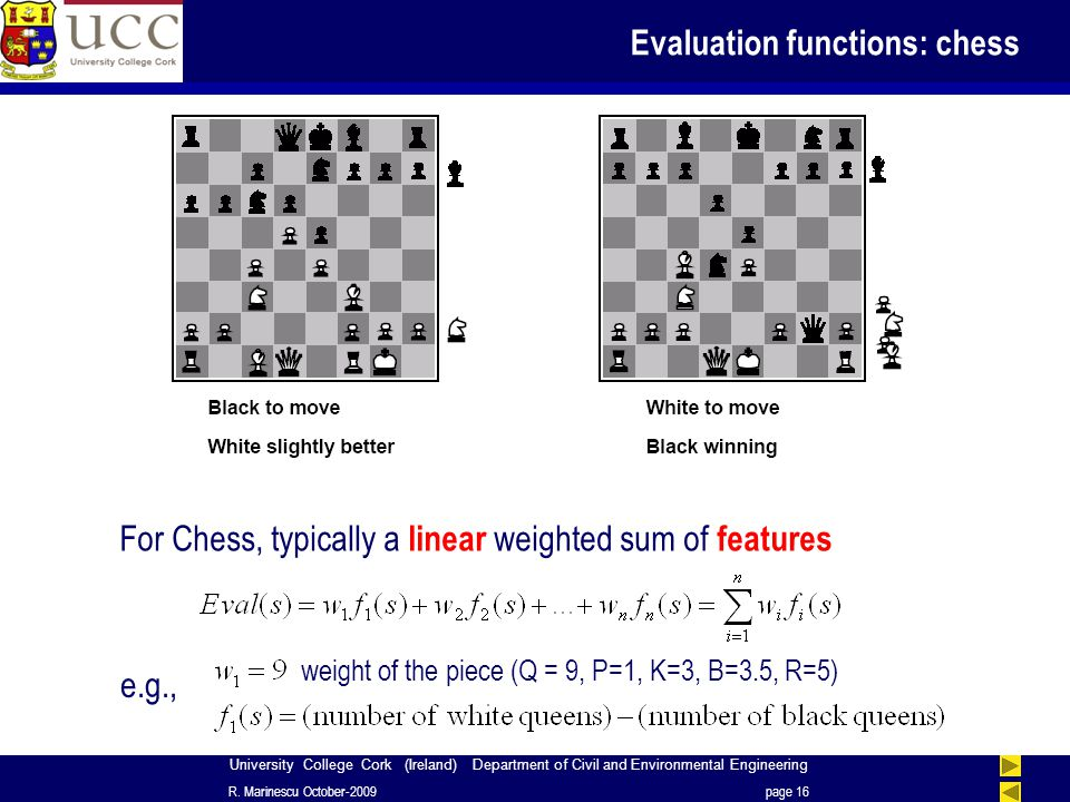 University College Cork (Ireland) Department of Civil and Environmental Engineering Evaluation functions: chess R.