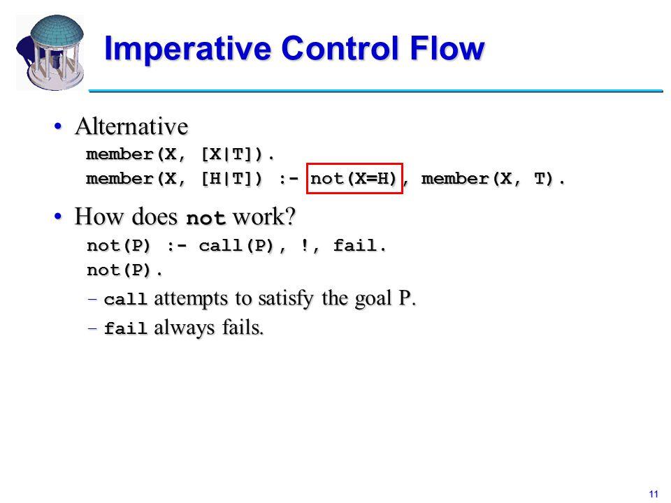 11 Imperative Control Flow AlternativeAlternative member(X, [X|T]).