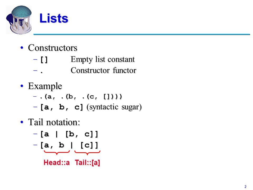 2 Lists ConstructorsConstructors –[] Empty list constant –.