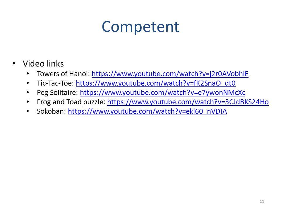 Competent 11 Video links Towers of Hanoi: https://www.youtube.com/watch?v=j2r0AVobhlEhttps://www.youtube.com/watch?v=j2r0AVobhlE Tic-Tac-Toe: https://www.youtube.com/watch?v=fK2SnaO_qt0https://www.youtube.com/watch?v=fK2SnaO_qt0 Peg Solitaire: https://www.youtube.com/watch?v=e7ywonNMcXchttps://www.youtube.com/watch?v=e7ywonNMcXc Frog and Toad puzzle: https://www.youtube.com/watch?v=3CJdBKS24Hohttps://www.youtube.com/watch?v=3CJdBKS24Ho Sokoban: https://www.youtube.com/watch?v=ekl60_nVDIAhttps://www.youtube.com/watch?v=ekl60_nVDIA