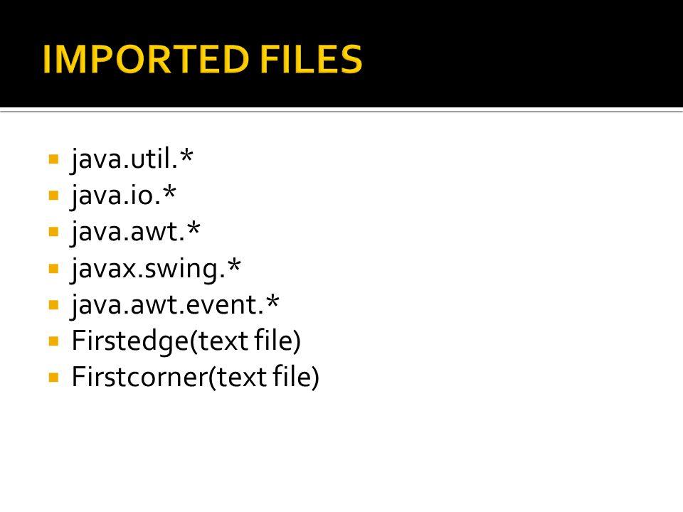  java.util.*  java.io.*  java.awt.*  javax.swing.*  java.awt.event.*  Firstedge(text file)  Firstcorner(text file)