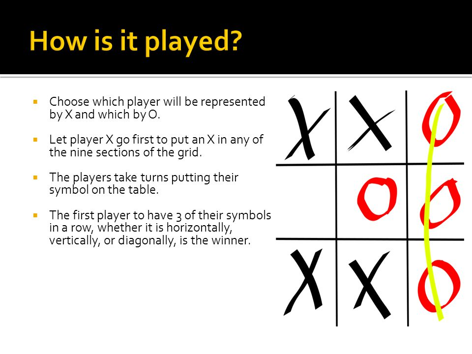  Choose which player will be represented by X and which by O.