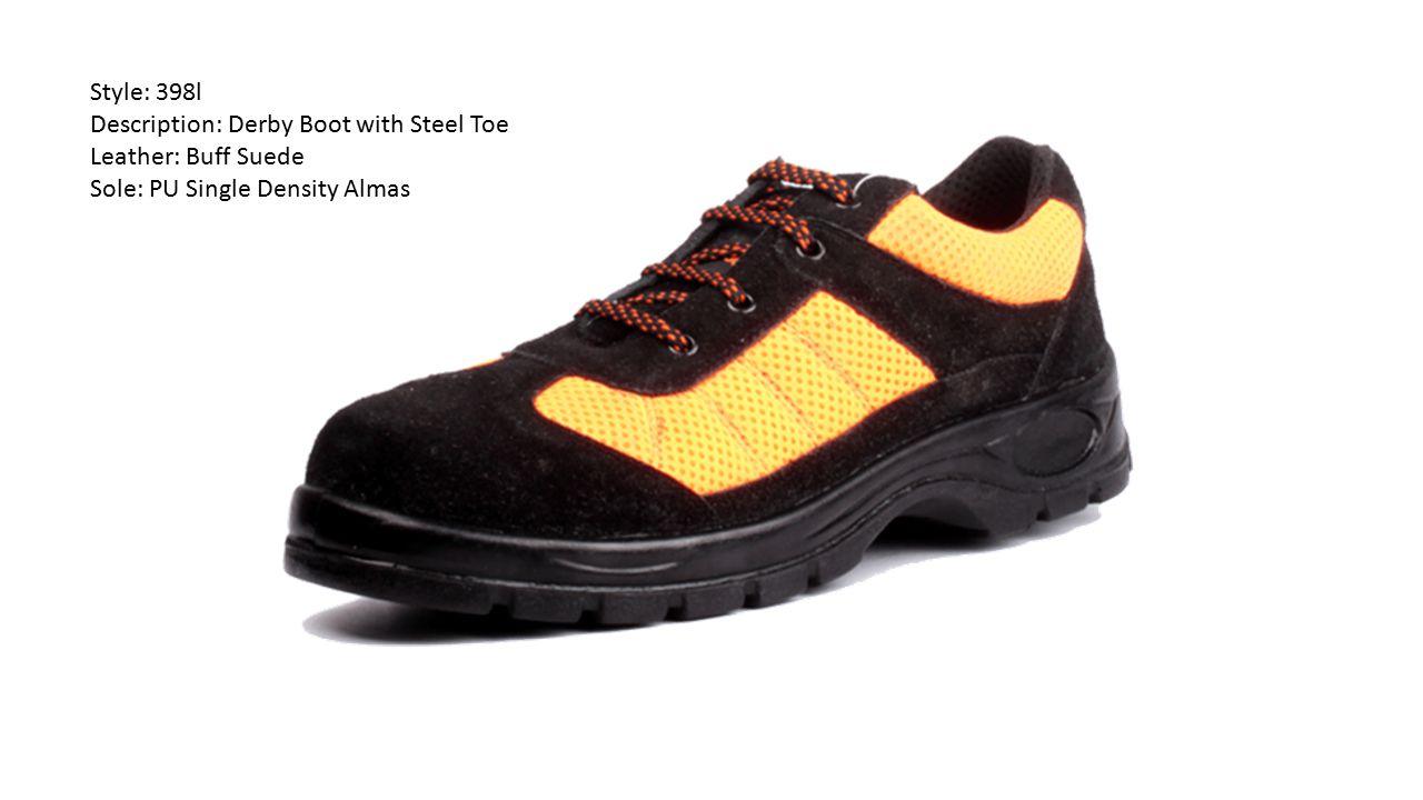 Style: 398l Description: Derby Boot with Steel Toe Leather: Buff Suede Sole: PU Single Density Almas