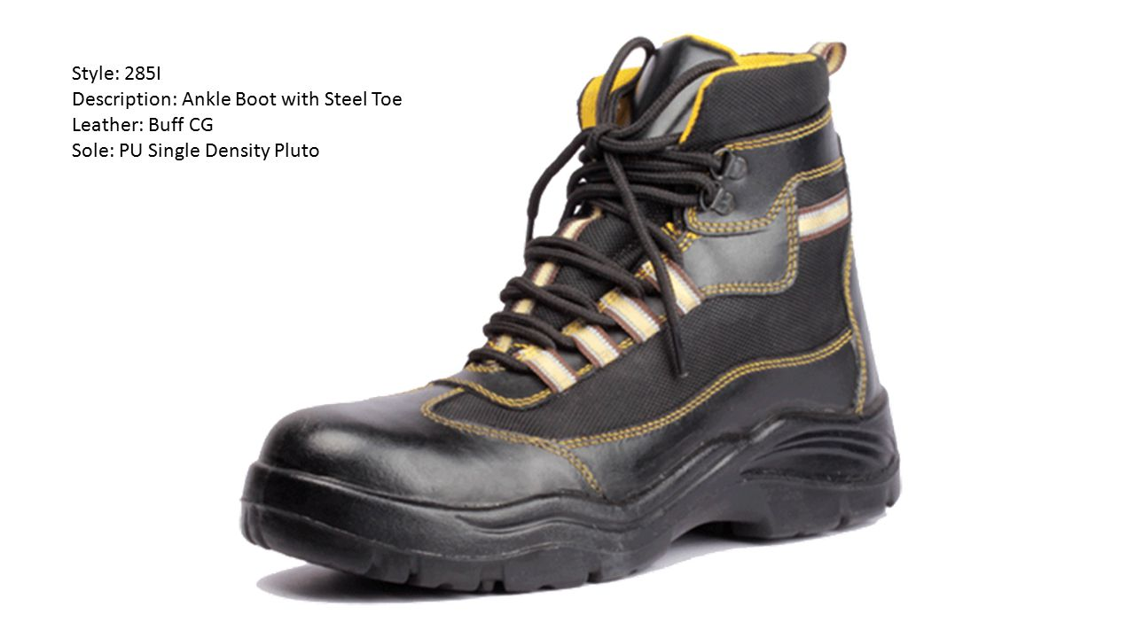 Style: 285I Description: Ankle Boot with Steel Toe Leather: Buff CG Sole: PU Single Density Pluto