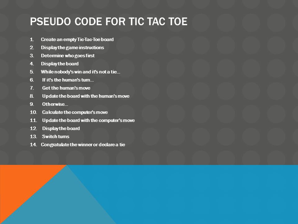 PSEUDO CODE FOR TIC TAC TOE 1.Create an empty Tic-Tac-Toe board 2.Display the game instructions 3.Determine who goes first 4.Display the board 5.While nobody s win and it s not a tie...