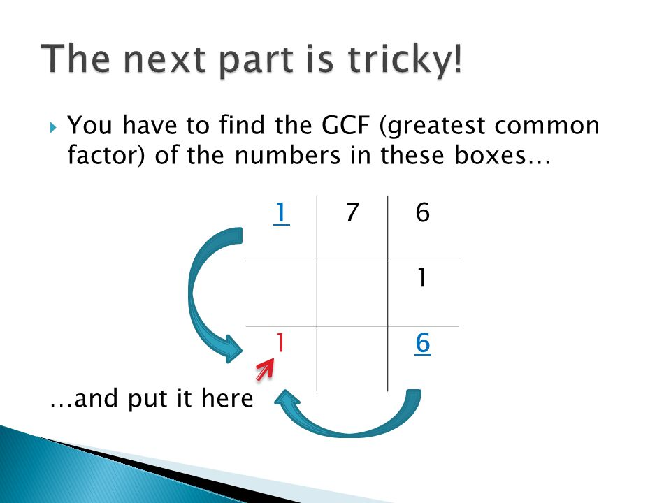  You have to find the GCF (greatest common factor) of the numbers in these boxes… …and put it here 176 1 16