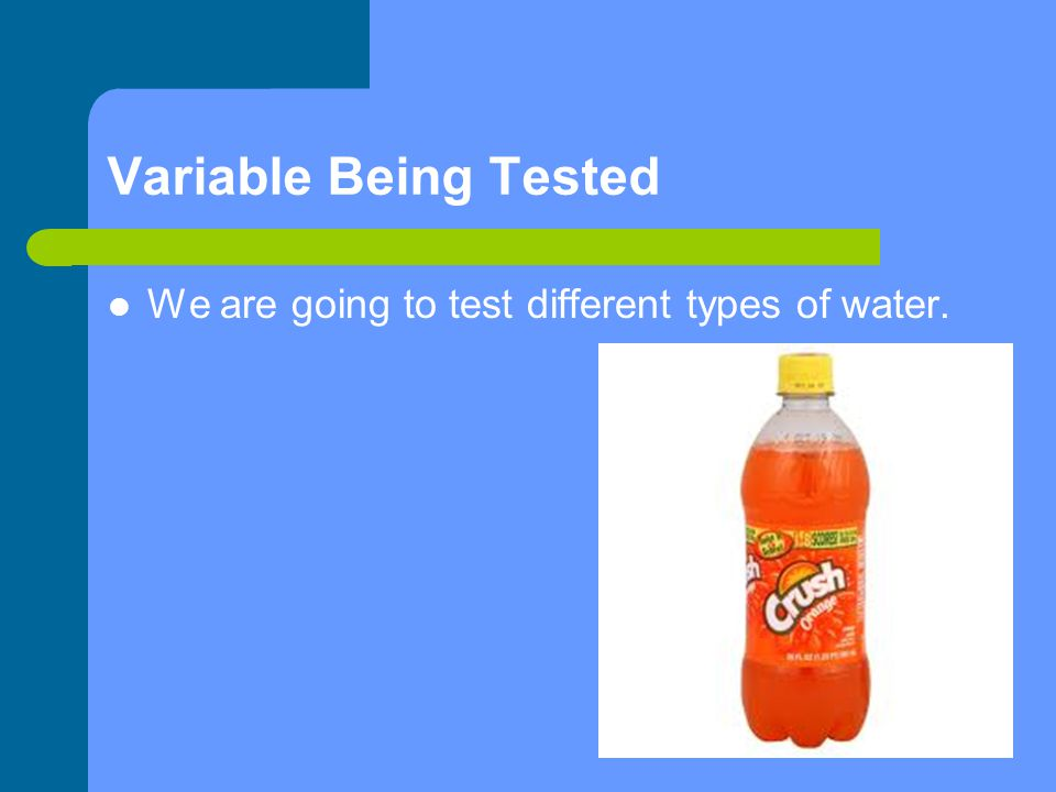Variable Being Tested We are going to test different types of water.