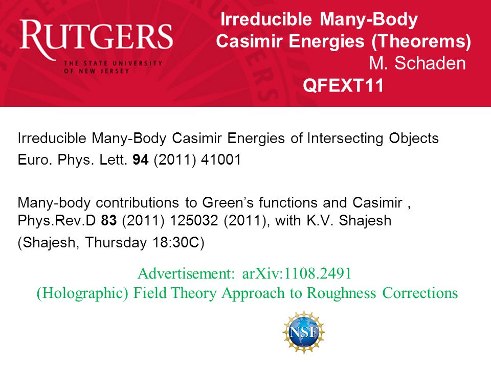 Irreducible Many-Body Casimir Energies (Theorems) M.