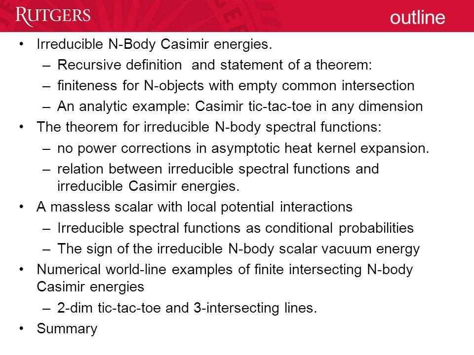 outline Irreducible N-Body Casimir energies.
