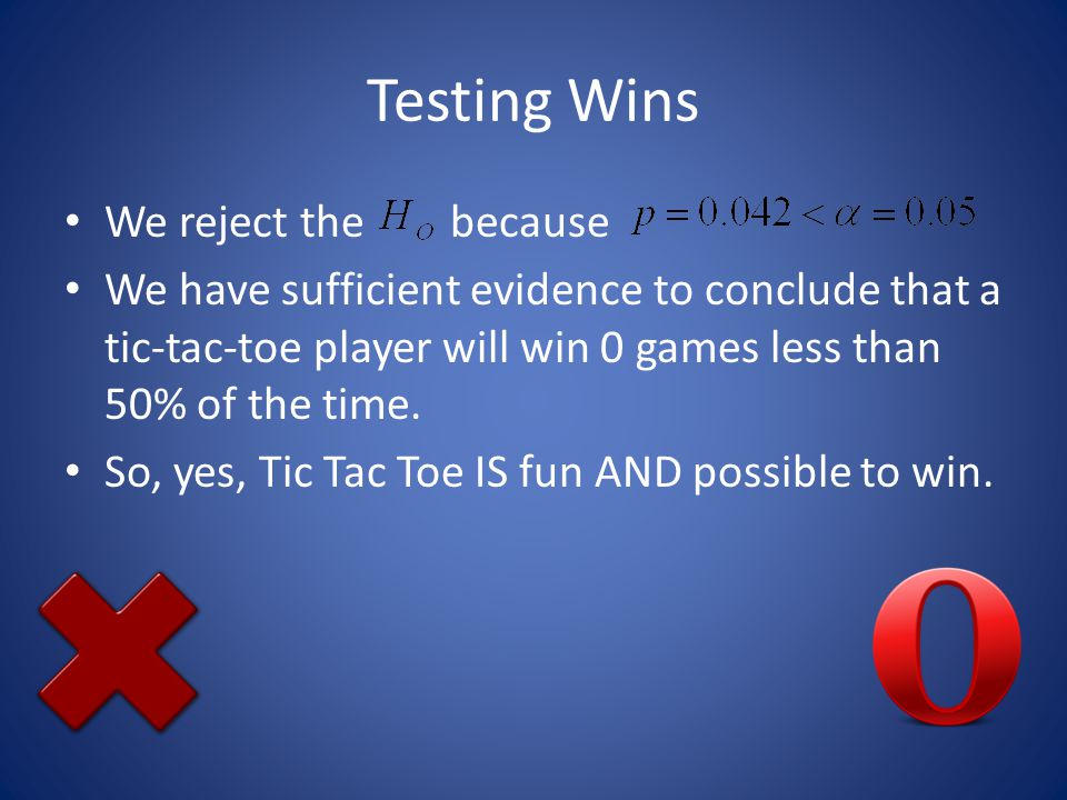 Testing Wins We reject the because We have sufficient evidence to conclude that a tic-tac-toe player will win 0 games less than 50% of the time.