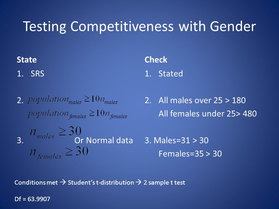 State 1.SRS 2. 3. Or Normal data Check 1.Stated 2.All males over 25 > 180 All females under 25> 480 3. Males=31 > 30 Females=35 > 30 Conditions met 