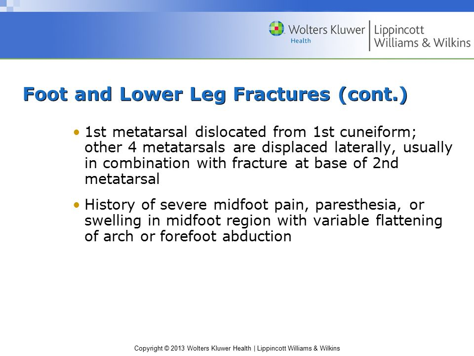 Copyright © 2013 Wolters Kluwer Health | Lippincott Williams & Wilkins Foot and Lower Leg Fractures (cont.) 1st metatarsal dislocated from 1st cuneifo
