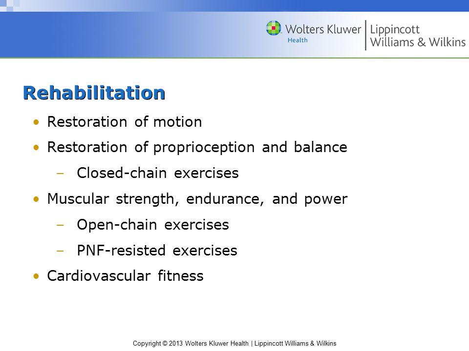 Copyright © 2013 Wolters Kluwer Health | Lippincott Williams & Wilkins Rehabilitation Restoration of motion Restoration of proprioception and balance