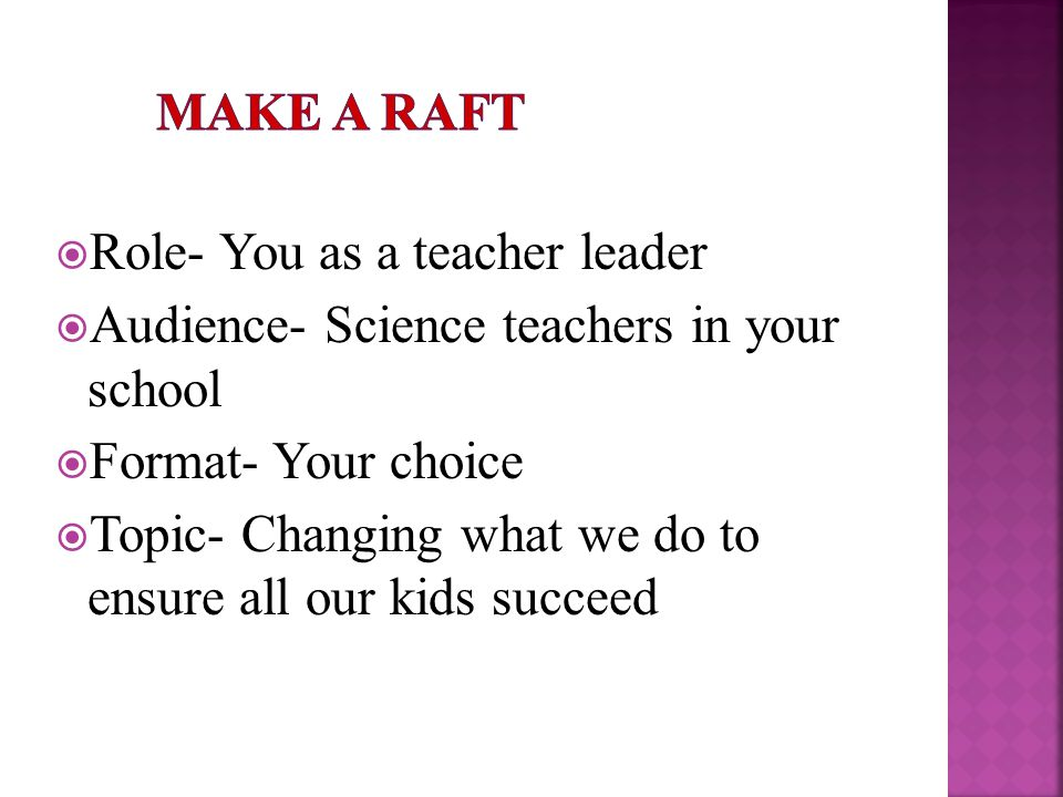  Role- You as a teacher leader  Audience- Science teachers in your school  Format- Your choice  Topic- Changing what we do to ensure all our kids succeed