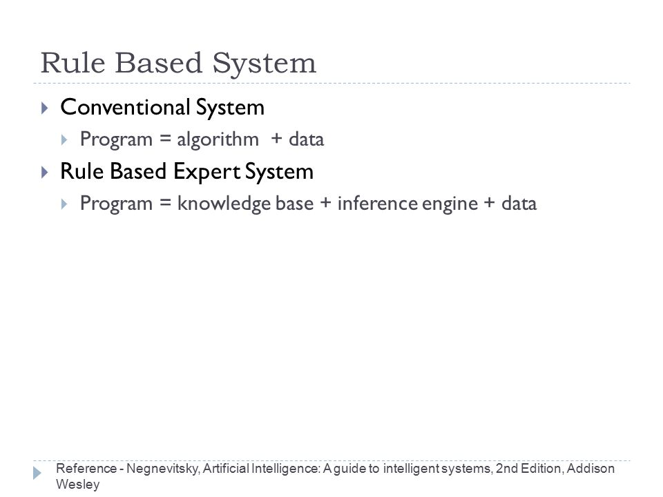 Rule Based System  Conventional System  Program = algorithm + data  Rule Based Expert System  Program = knowledge base + inference engine + data R