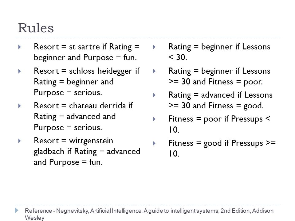 Rules  Resort = st sartre if Rating = beginner and Purpose = fun.  Resort = schloss heidegger if Rating = beginner and Purpose = serious.  Resort =