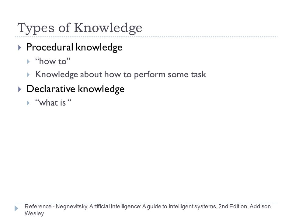 "Types of Knowledge  Procedural knowledge  ""how to""  Knowledge about how to perform some task  Declarative knowledge  ""what is "" Reference - Negne"