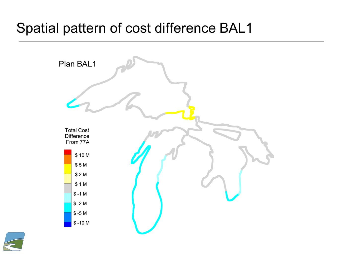 Spatial pattern of cost difference BAL1