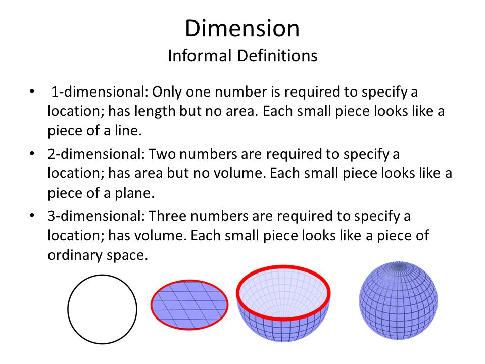 Dimension Informal Definitions 1-dimensional: Only one number is required to specify a location; has length but no area. Each small piece looks like a