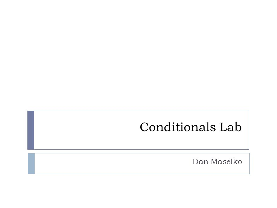 Conditionals Lab Dan Maselko
