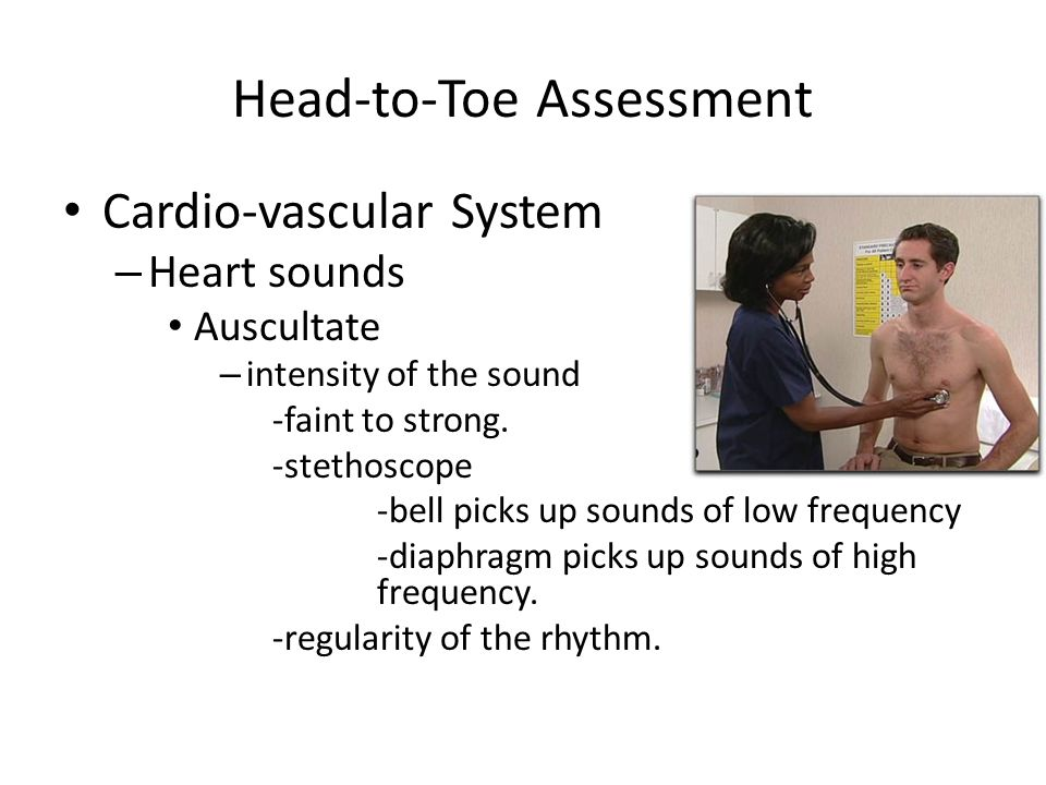 Head-to-Toe Assessment Cardio-vascular System – Heart sounds Auscultate – intensity of the sound -faint to strong. -stethoscope -bell picks up sounds