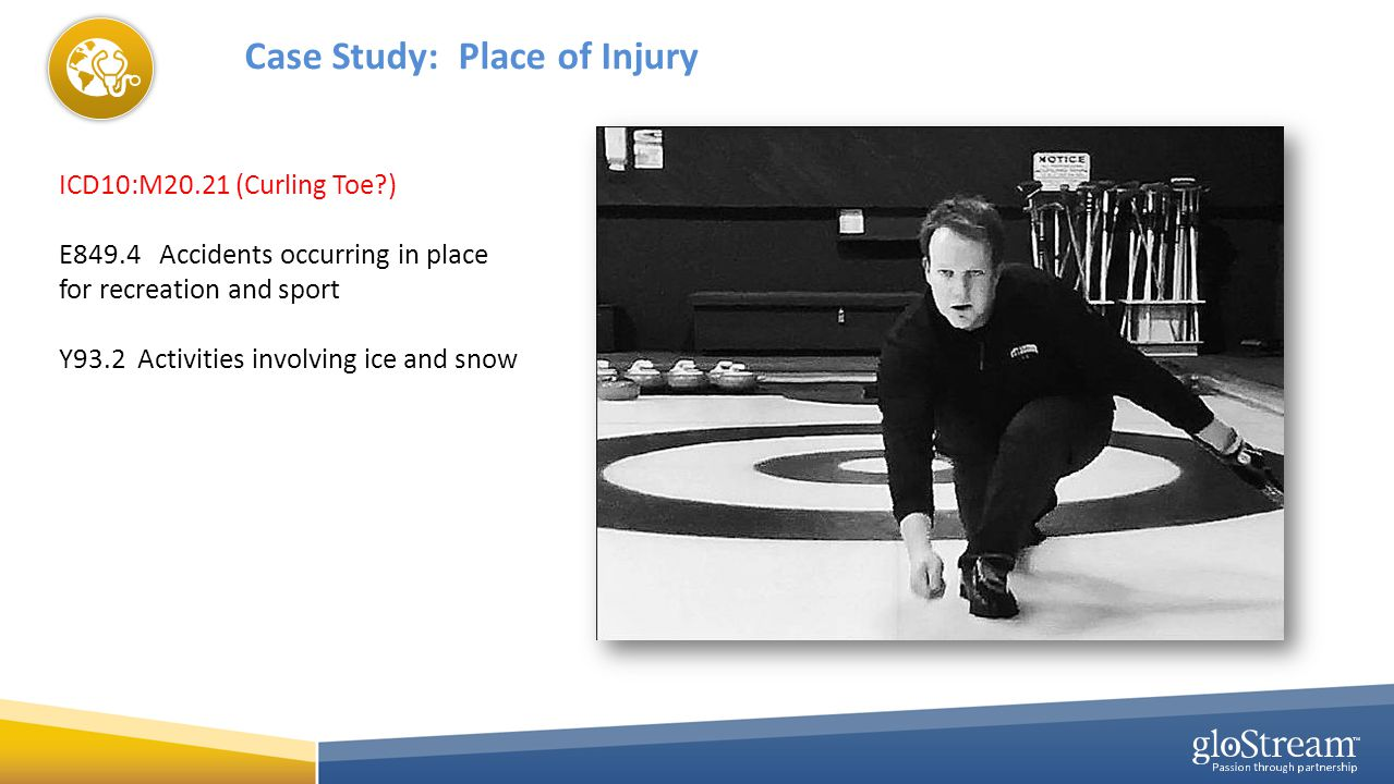 Case Study: Place of Injury ICD10:M20.21 (Curling Toe ) E849.4 Accidents occurring in place for recreation and sport Y93.2 Activities involving ice and snow