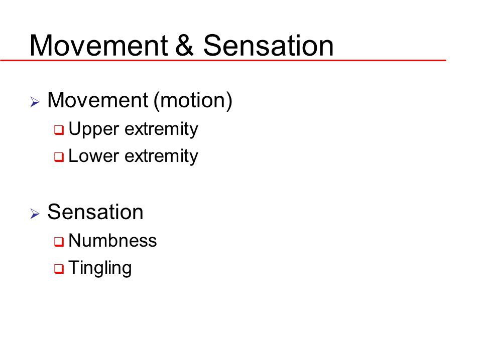 Movement & Sensation  Movement (motion)  Upper extremity  Lower extremity  Sensation  Numbness  Tingling
