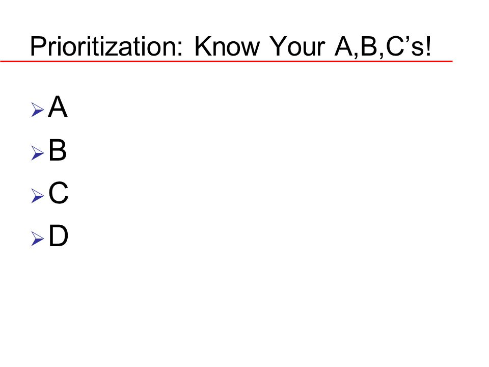 Prioritization: Know Your A,B,C's! ABCDABCD