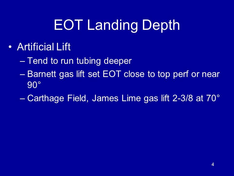 EOT Landing Depth Artificial Lift –Tend to run tubing deeper –Barnett gas lift set EOT close to top perf or near 90° –Carthage Field, James Lime gas lift 2-3/8 at 70° 4