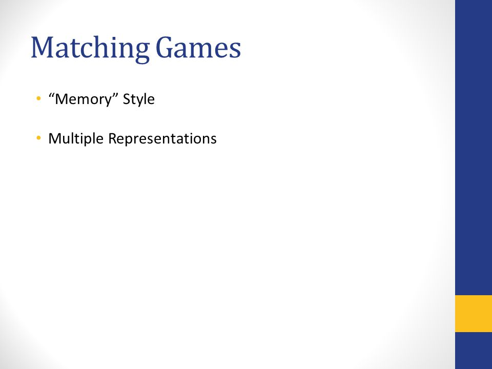 Matching Games Memory Style Multiple Representations